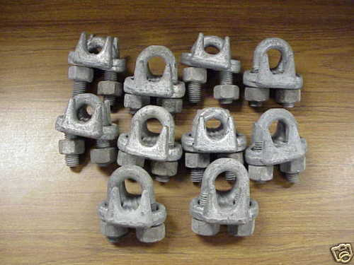 """Wire Rope Cable Clamps 5/8"""" Zinc Coated Set of 10 New"""