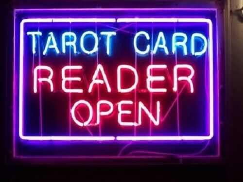 "New Tarot Card Reader Open Neon Light Sign 24""x20"" Lamp Poster Real Glass"