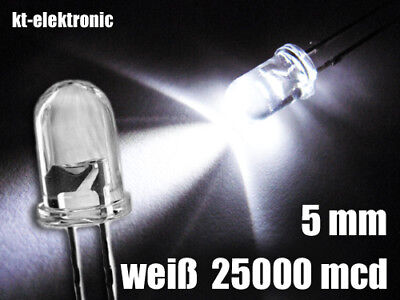 25 Stück LED 5mm weiß ultrahell 25000mcd Mcd Led