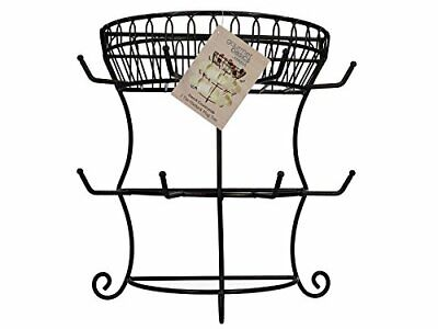Gourmet Basics by Mikasa 5154681 French Countryside Metal Mug Tree with Storage Basket 14.76 x 7.76 x 13.50 Antique Black