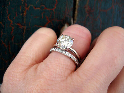 1.80 Ct. Natural Round Cut Pave Diamond Bridal Set - GIA Certified & Appraised