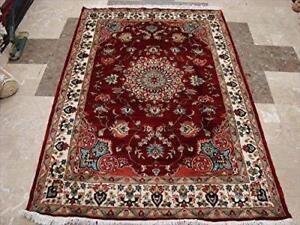 Mid Night Red Love Flowers Exclusive Area Rugs Hand Knotted Wool Silk Carpet (6 x 4)'