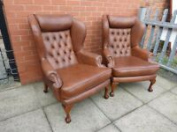 Pair Of Brown Leather Queen Ann Chesterfield Wing Chairs