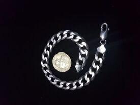 Solid 925 Sterling Silver Men's Bracelet 9mm 25g Finest Quality
