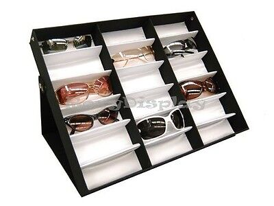 Sunglasses Display 18 Pairs Tray Black And White Hard Plastic Frame  Su-18a-1