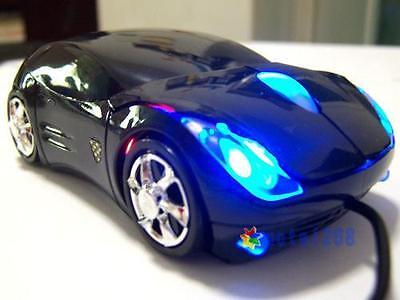 USB 2.0 Wired Blue LED Black Car Shape USB 3D Optical Mouse Mice For PC LaptopUP Blue Wired Optical Mouse