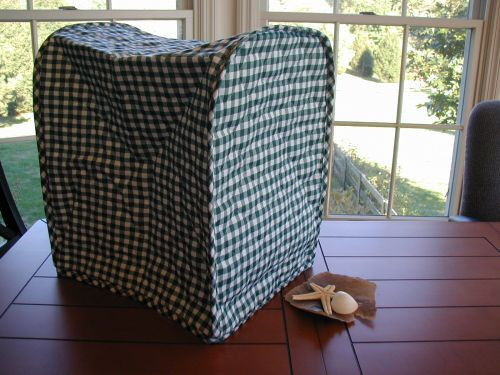Hunter Green Gingham Appliance Cover For Large Mixers quilted fabric LAST ONES