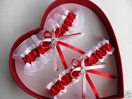 NEW Sexy Bridal Double Heart Red / White Wedding Garters - Prom GetTheGoodStuff