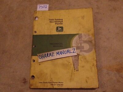John Deere 7200 Folding Max-emerge Planter Technical Manual Tm1211