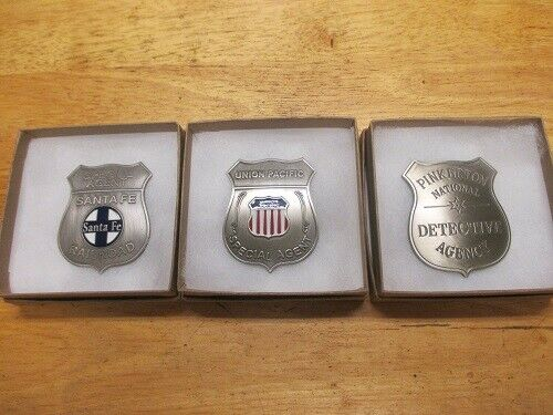 Old West Railroad 3 Badge Collection--Replicas Old West