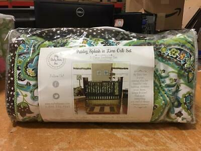 My Baby Sam 3 PC Nursery Crib Set Skirt, Sheet, Blanket Paisley Splash in Lime