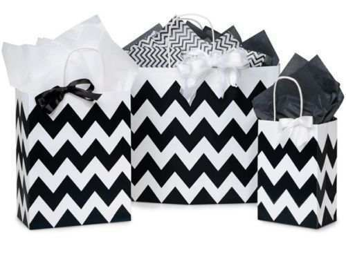Paper Striped Shopping Bags Chevron Gift 125 Assorted Sizes Retail Merchandise