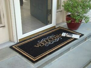 welcome mat heavy duty front porch door double outdoor coir doormat floor rug ebay. Black Bedroom Furniture Sets. Home Design Ideas