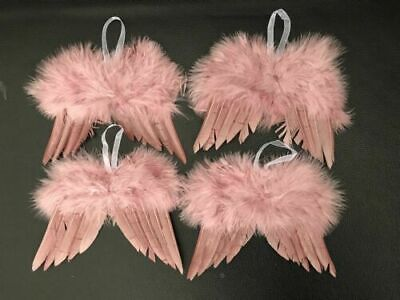 10pc Pink Vintage Feather Hanging Angel Wings Christmas Tree Wedding Decoration