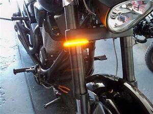 Razor 39mm Fork LED Turn Signal Light Bars for HD Sportster & Dyna - Smoked Lens