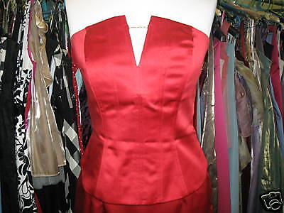 DEBUT/DEBENHAMS RED CHAIN BRIDESMAID/WEDDING DRESS/PROM BASQUE/BUSTIER/TOP 8/10 Chain Bustier Dress