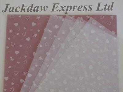 10 x A4 100gsm Printed Translucent Vellum Paper - White Hearts Design AM526