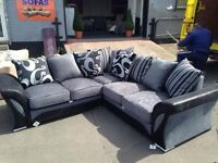 NEW CORNER FABRIC SOFA SUITE IN LEATHERETTE STYLE ALSO 3+2 SET AVAILABLE