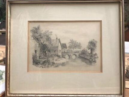 Antique Original Drawing of English Scene