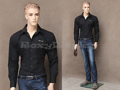 Male Fiberglass Realistic Mannequin With Molded Hair Dress From Display Mz-wen3