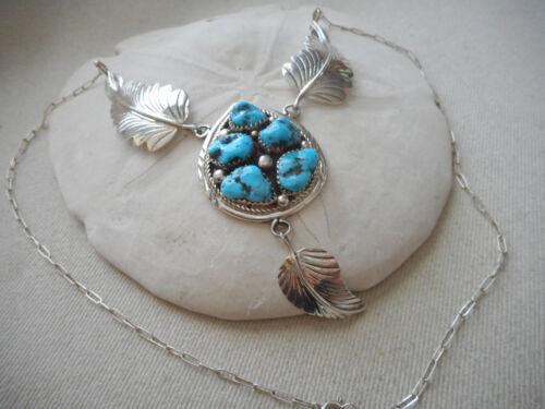 Vintage Southwest Sterling Silver Turquoise Nugget Pendant Necklace  56523