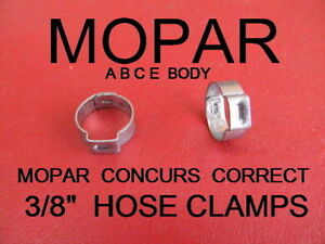 "MOPAR A B C E BODY CORRECT FUEL LINE CRIMP 3/8"" CLAMPS"