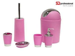 Bathroom accessories ebay for Pink bathroom accessories sets