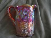 Amber Carnival Glass Pitcher