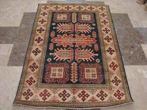 Super Kazak Caucasion Geometric Veg Dyed Mahal Rectangle Rug Hand Knotted Carpet (5.1 x 3.6)'