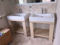 Sanindusa Plan Wall Hung Sink With Heritage bathrooms Tap