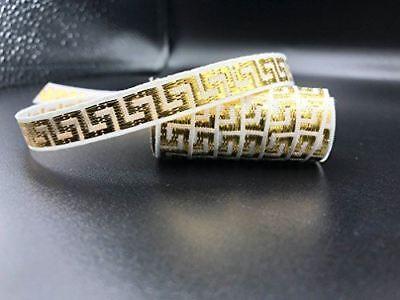 TRIMPLACE Woven Greek Key 7/16 Inch Dobby White/Gold Ribbon-15 (White Gold Greek Key)