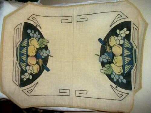 ANTIQUE ARTS & CRAFTS LINEN TINTED EMBROIDERED RUNNER FRUIT BASKET BIRD NOT USED