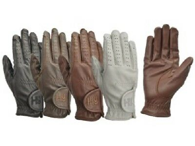 HY5 LEATHER RIDING GLOVES BLACK, BROWN, WHITE OR LIGHT BROWN VARIOUS SIZES