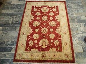 Gorgeous Red Chobi Zeigler Mahal Vege Dyed Area Rugs Hand Knotted Carpet (4.11 X 3.3)'