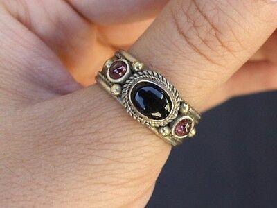 Solid Adjustable Tibetan 3-color Copper Onyx Garnet 3 Gemstone Dotted Ring