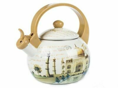 Flötenkessel 2.2L Orient-Motiv Retro Emaille Wasserkocher Teekessel Pfeifentopf (Tee-topf Für Induktion Herd)