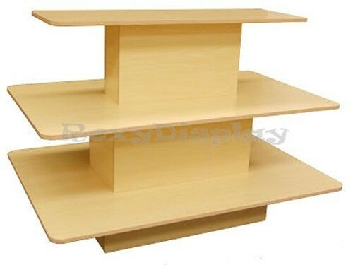 Rectangular 3 Tier Display Table Maple Color Clothes Racks Stands #RK-3TIER60M