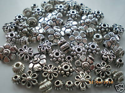 100 x Mixed Small Tibetan Silver Lead Free Beads, 50g