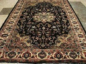 Excellent Hot Brownie Choco Medallion Rectangle Area Rug Wool Silk Hand Knotted Carpet (6 X 4)'
