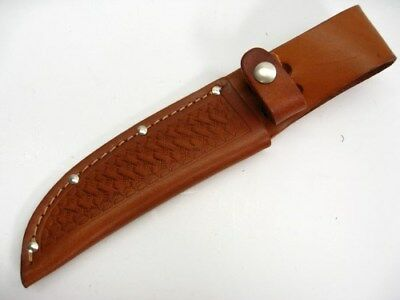 "BROWN Leather SHEATH For Straight Fixed Blade Knife Up To 5"" Blade SH1134 New!"