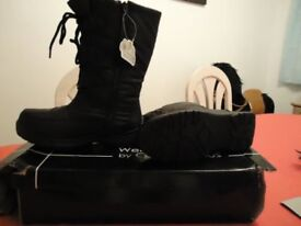 LADIES NEW BLACK WINTER WARM SNOW BOOT SIZE 4