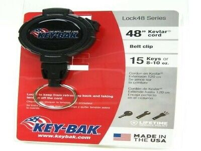 Key-bak Lock48 Black Retractable 48 Cord Key Ring Carabiner Reel W Clip