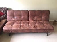 2 x matching Brown Faux leather sofa beds
