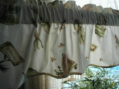 """Used, pfaltzgraff Naturewood 60 x 13 Valance 3"""" rod Special Made cotton floral garden for sale  Woodstock"""