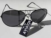 Black Lens Aviator Sunglasses