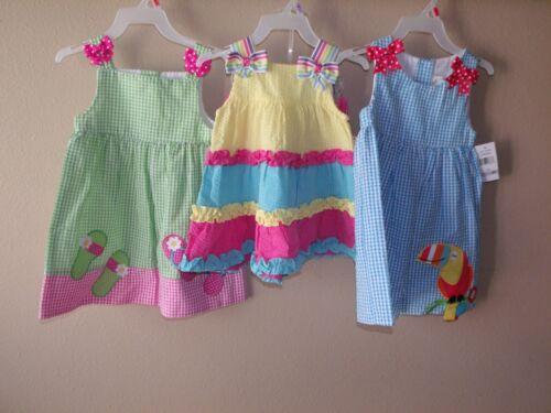 Nwt Girls Emily Rose Sun Dress Blue Green Pink Yellow Sleeveless 12M