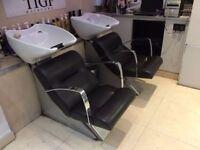 2 Salon backwash Chairs, 5 Hydraulic Salon chairs & 2 Nail bars with changing light side panels