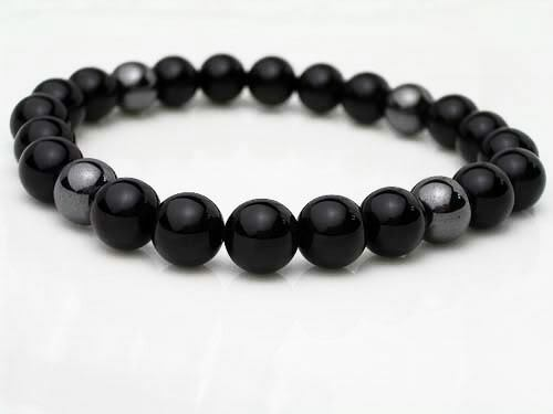 100% Natural Egyptian Black Onyx & Hematite Mens Womens Anubis 8mm bead bracelet