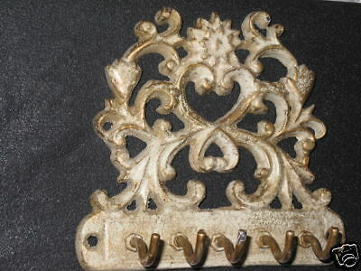 Gußeisen Schlüsselbrett  12cm rustikal weiß