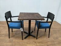 New Heavy Duty Bespoke Dark Wood 2 Seat Dining Table Chair Set 700mm Square
